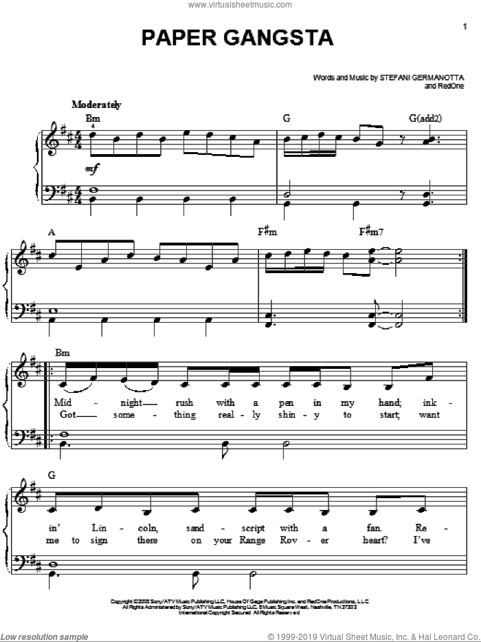 Paper Gangsta sheet music for piano solo by Lady GaGa and RedOne, easy skill level