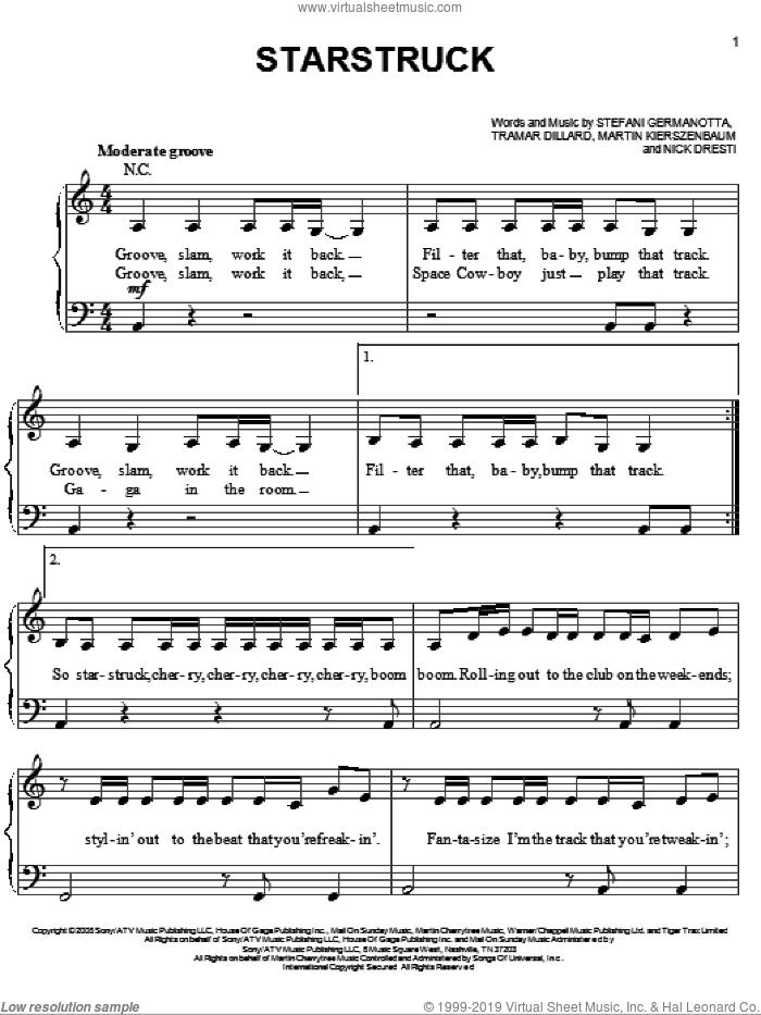 Starstruck sheet music for piano solo by Lady GaGa, Martin Kierszenbaum, Nick Dresti and Tramar Dillard, easy skill level