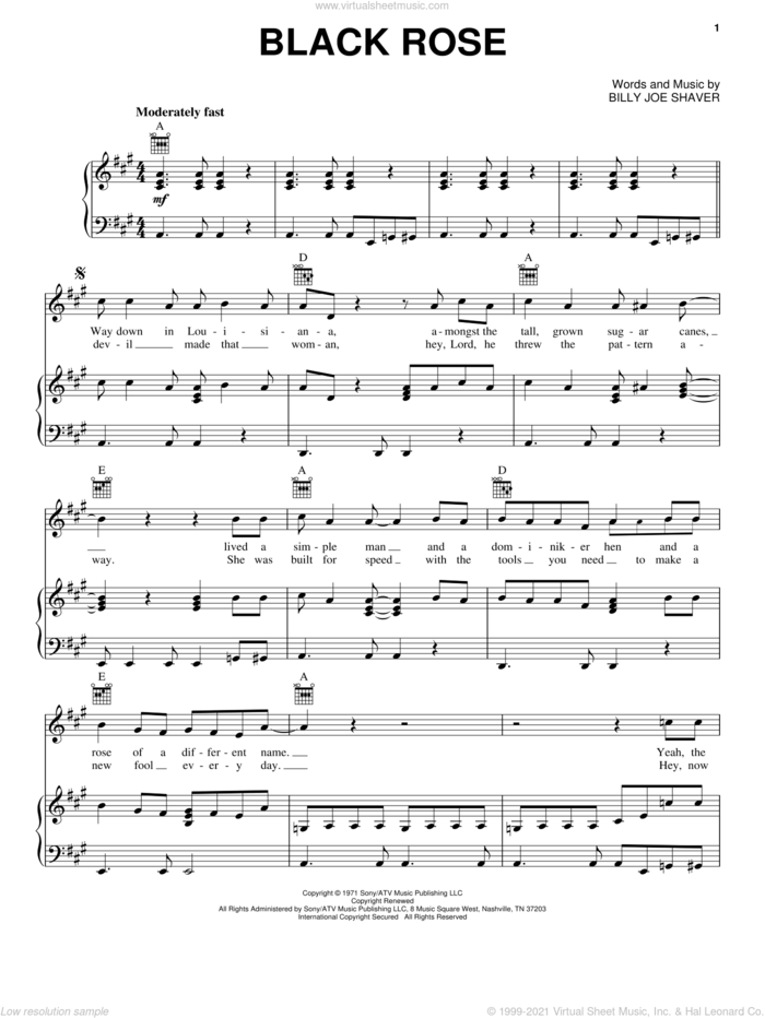 Black Rose sheet music for voice, piano or guitar by Waylon Jennings and Billy Joe Shaver, intermediate skill level