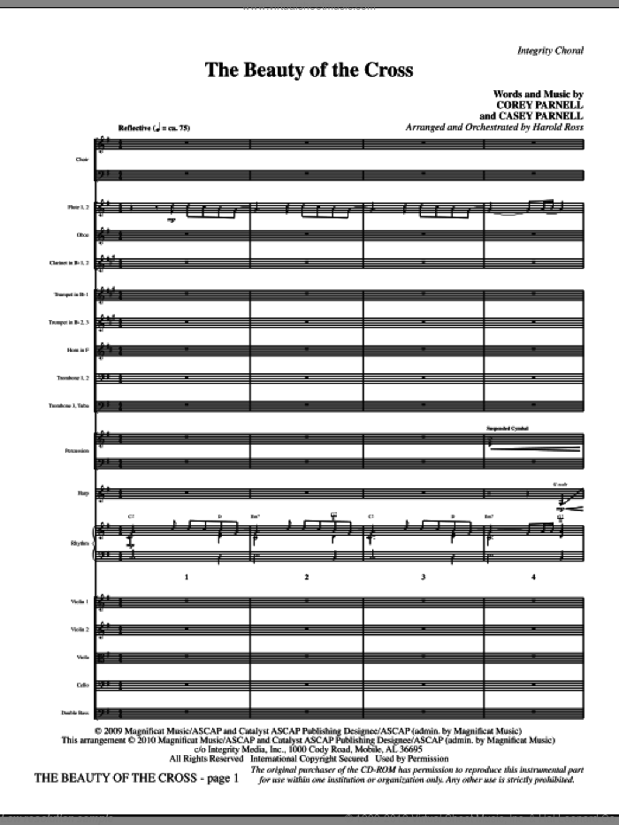 The Beauty Of The Cross (complete set of parts) sheet music for orchestra/band (Orchestra) by Harold Ross, Casey Parnell and Corey Parnell, intermediate skill level