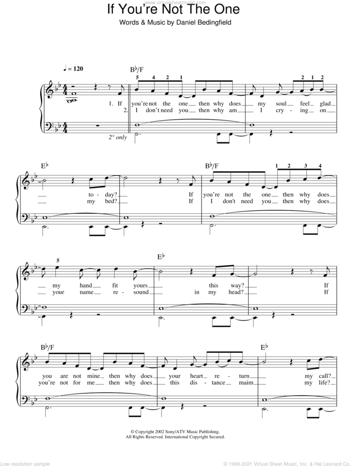 If You're Not The One sheet music for piano solo by Daniel Bedingfield, easy skill level