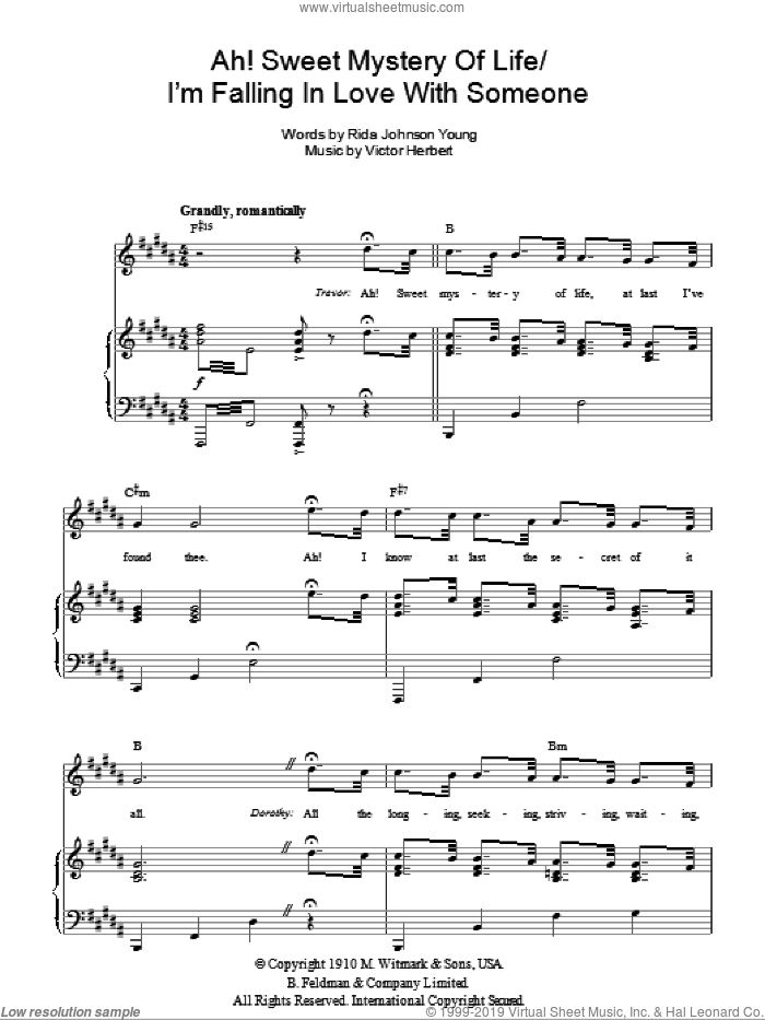 Ah! Sweet Mystery Of Life sheet music for voice, piano or guitar by Rida Johnson Young and Victor Herbert, intermediate skill level