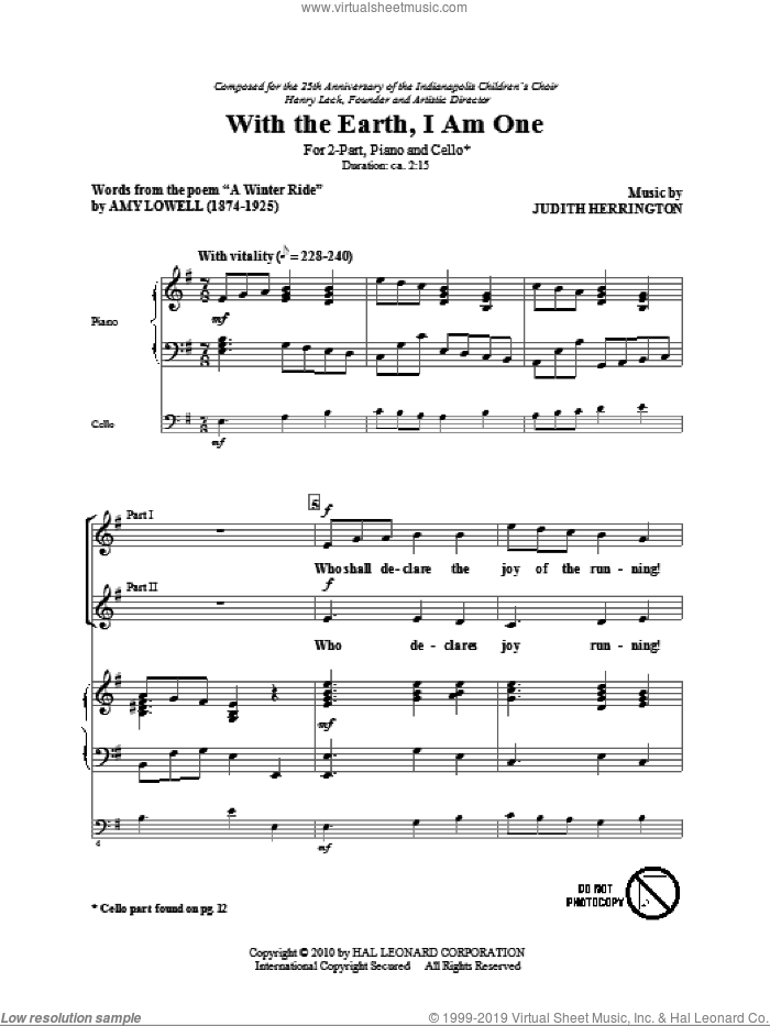 With The Earth, I Am One sheet music for choir (2-Part) by Judith Herrington and Amy Lowell, intermediate duet