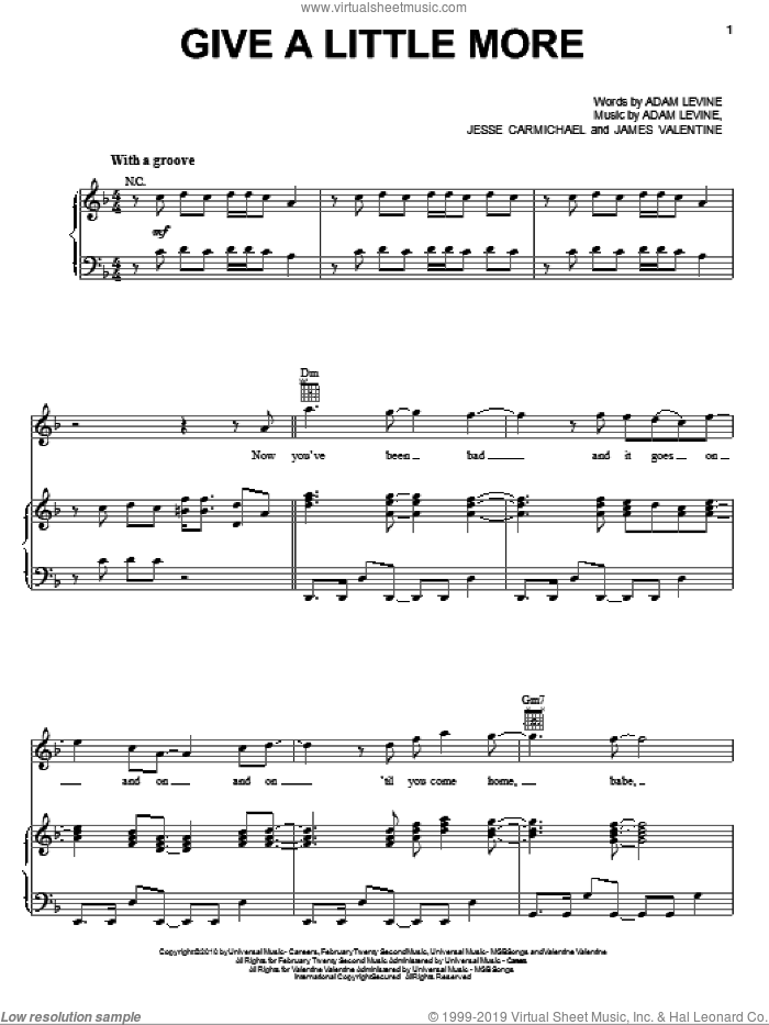 Give A Little More sheet music for voice, piano or guitar by Maroon 5, Adam Levine, James Valentine and Jesse Carmichael, intermediate skill level
