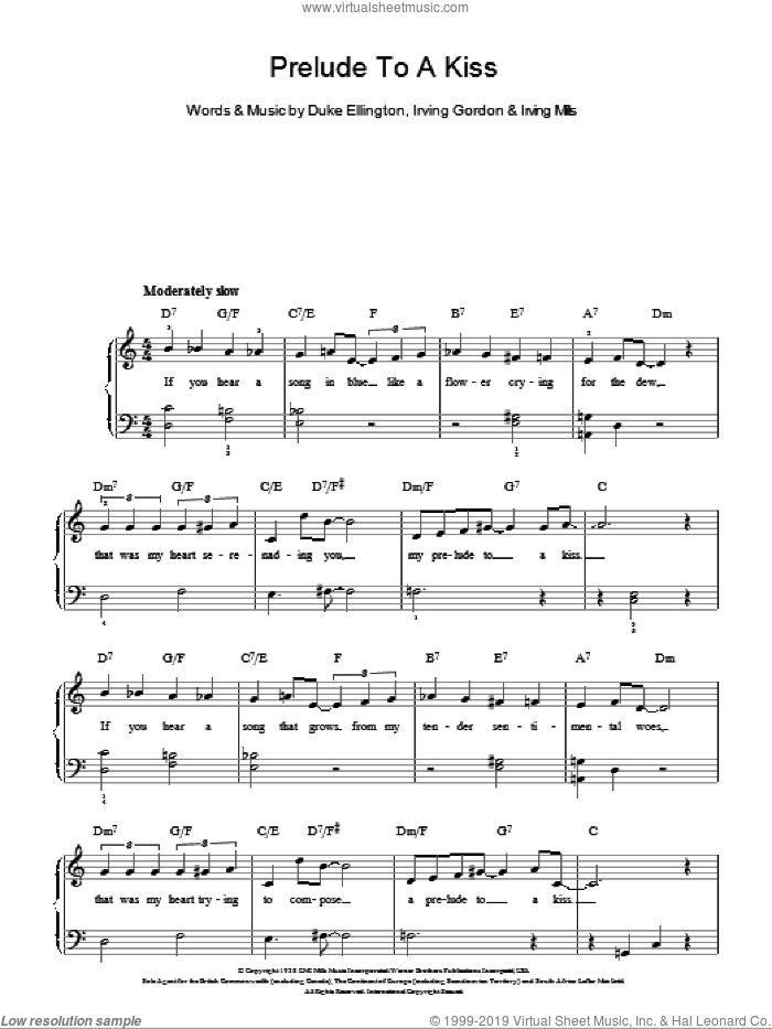 Prelude To A Kiss, (easy) sheet music for piano solo by Duke Ellington, Irving Gordon and Irving Mills, easy skill level