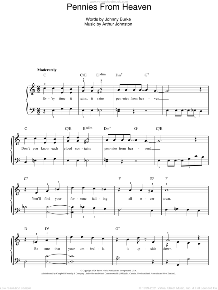 Pennies From Heaven sheet music for piano solo by Bing Crosby, Arthur Johnston and John Burke, easy skill level