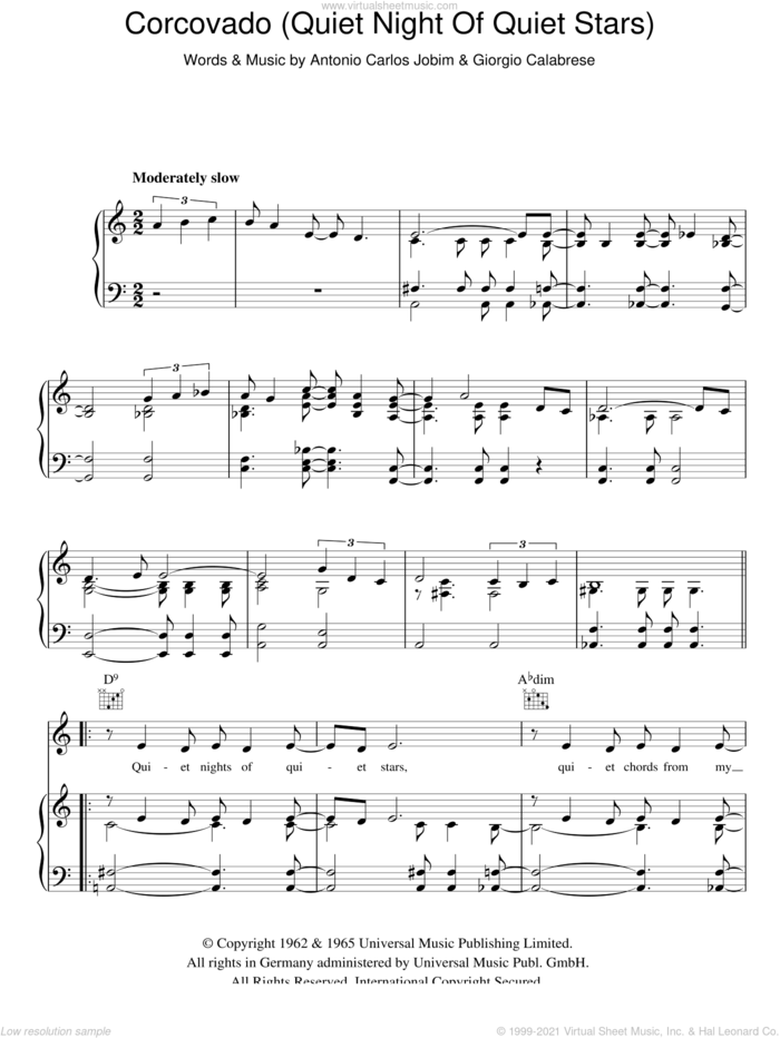 Corcovado (Quiet Nights Of Quiet Stars) sheet music for voice, piano or guitar by Antonio Carlos Jobim and Giorgio Calabrese, intermediate skill level