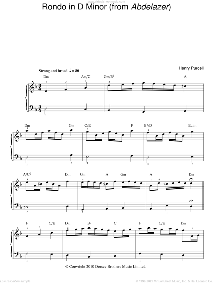 Rondo In D Minor (from Abdelazer) sheet music for piano solo by Henry Purcell, classical score, easy skill level