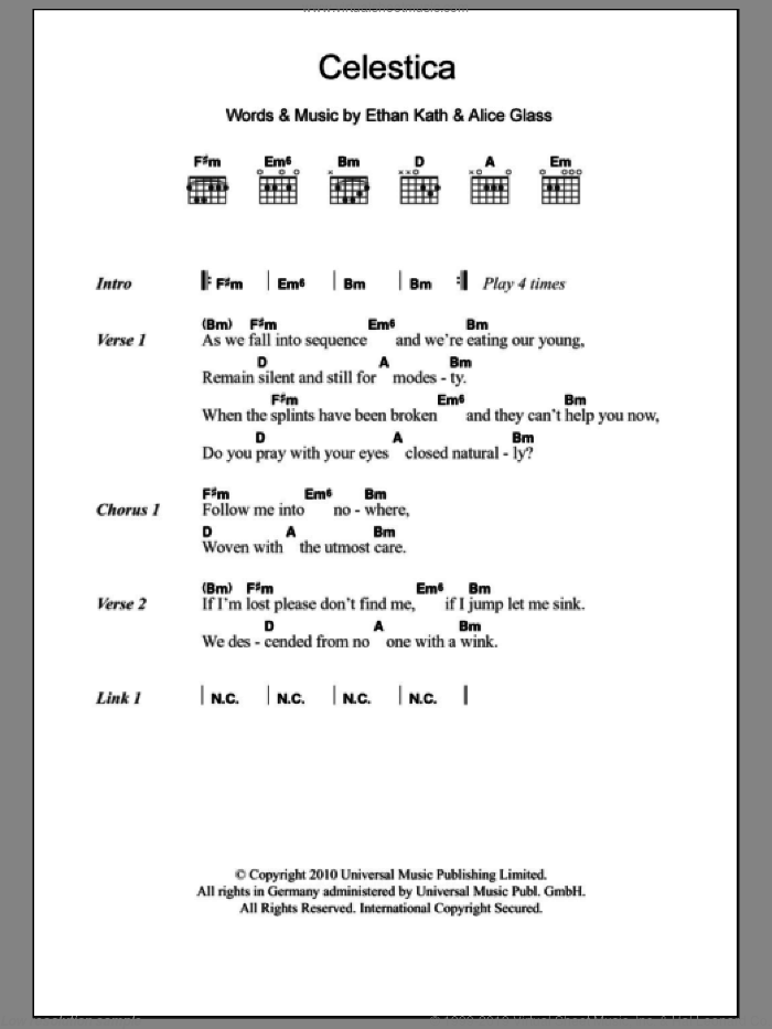 Celestica sheet music for guitar (chords) by Crystal Castles, Alice Glass and Ethan Kath, intermediate skill level