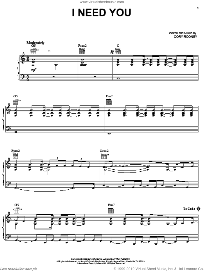 I Need You sheet music for voice, piano or guitar by Marc Anthony and Cory Rooney, intermediate skill level