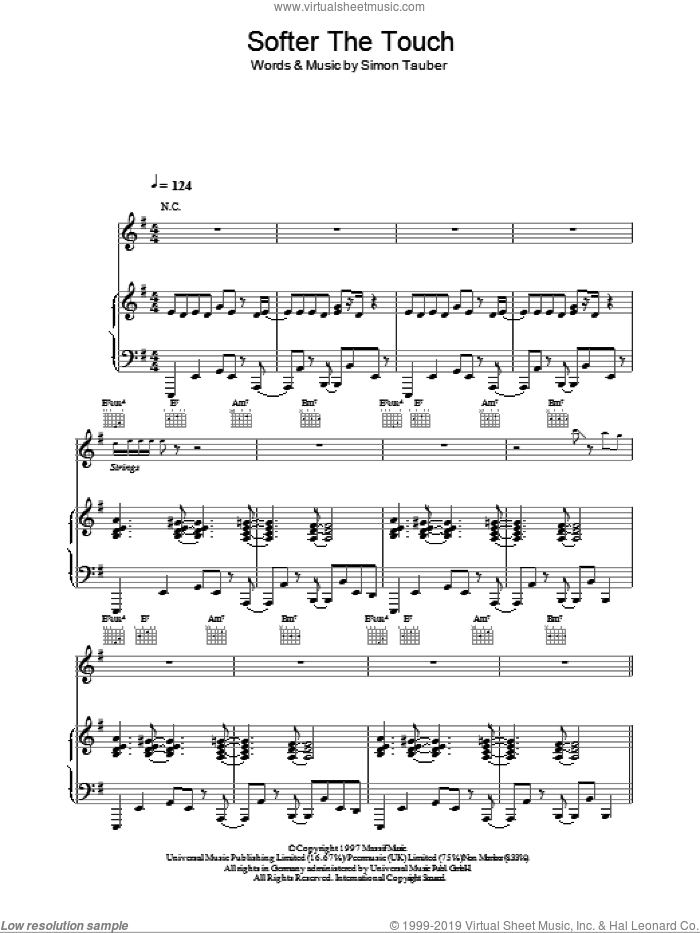 Softer The Touch sheet music for voice, piano or guitar by Atomic Kitten and Simon Tauber, intermediate skill level