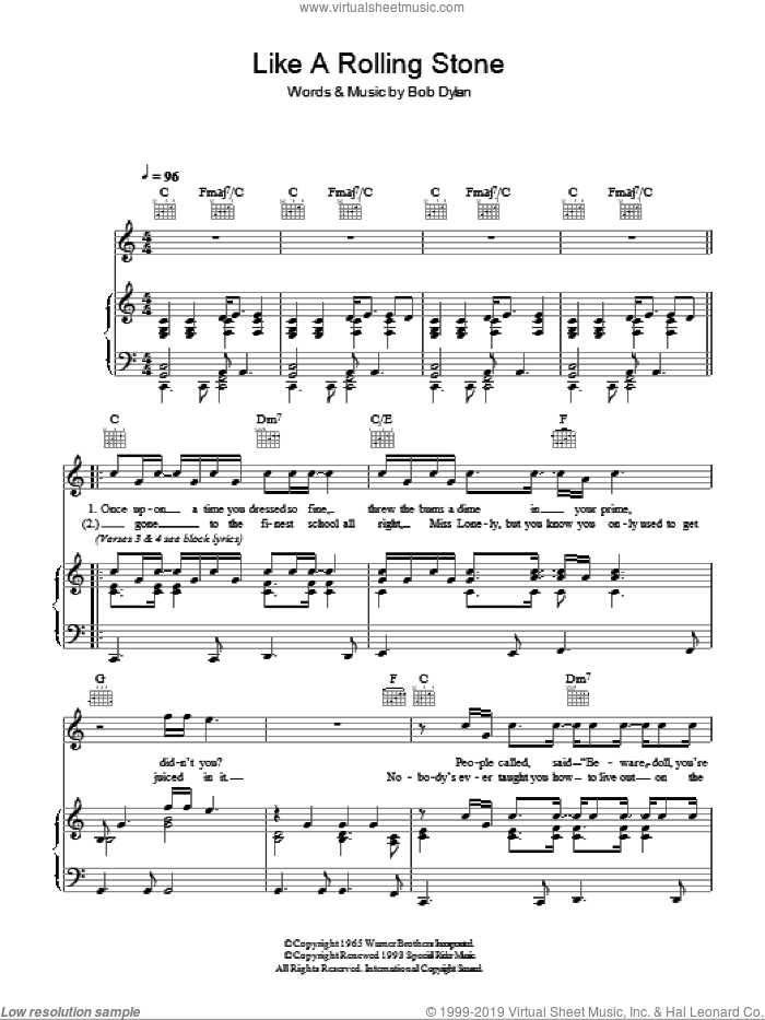 Like A Rolling Stone sheet music for voice, piano or guitar by Bob Dylan, intermediate skill level