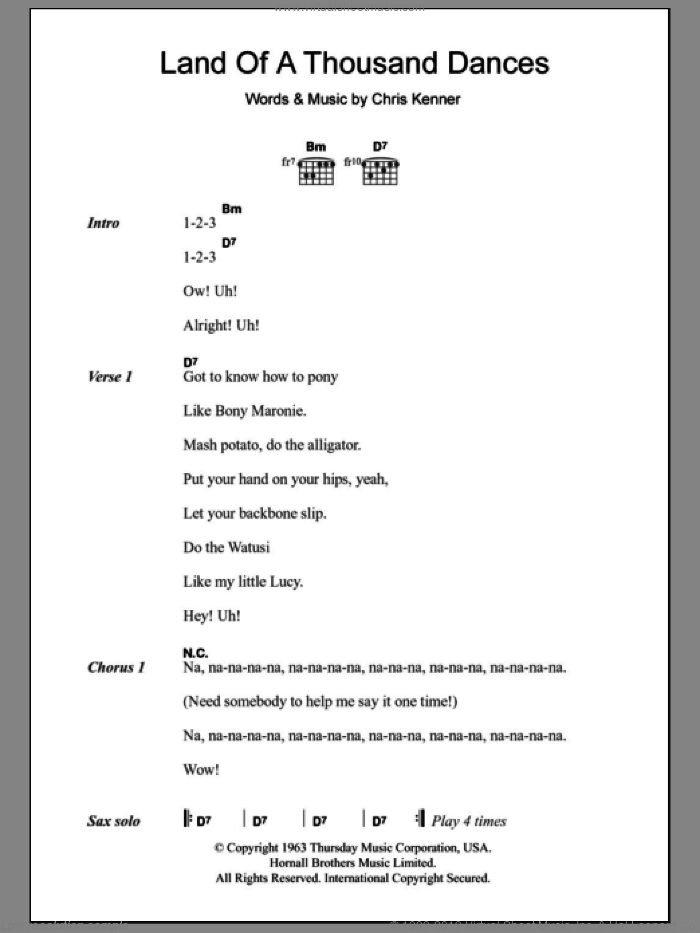 Land Of A Thousand Dances sheet music for guitar (chords) by Wilson Pickett and Chris Kenner, intermediate skill level