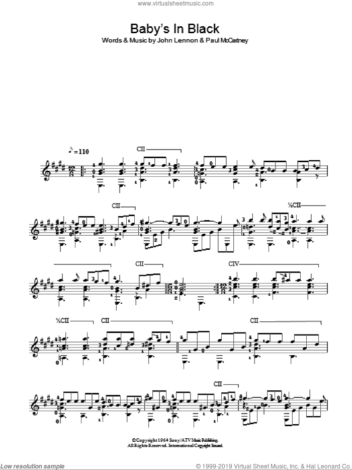 Baby's In Black sheet music for guitar solo (chords) by The Beatles, John Lennon and Paul McCartney, easy guitar (chords)