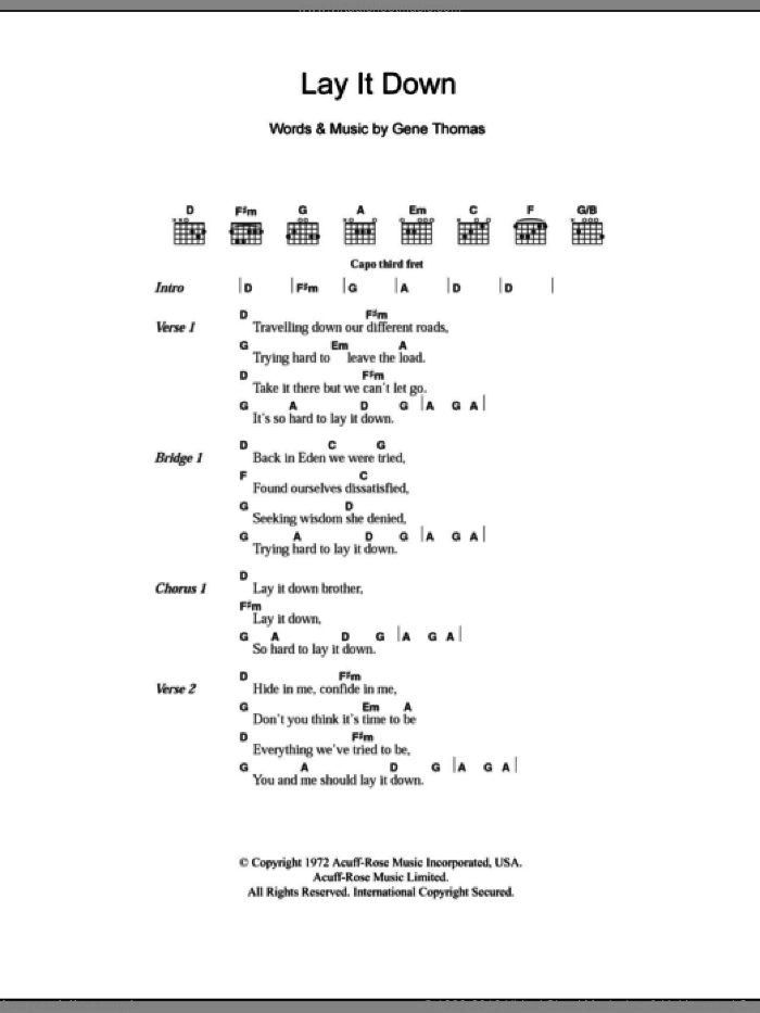 Lay It Down sheet music for guitar (chords) by Everly Brothers and Gene Thomas, intermediate skill level