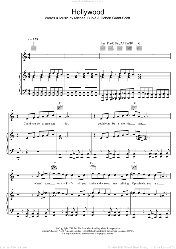 Hollywood sheet music for voice, piano or guitar by Michael Buble and Robert Grant Scott, intermediate skill level