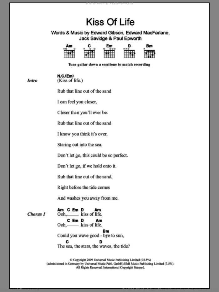 Kiss Of Life sheet music for guitar (chords) by Friendly Fires, Edward Gibson, Edward MacFarlane, Jack Savidge and Paul Epworth, intermediate skill level