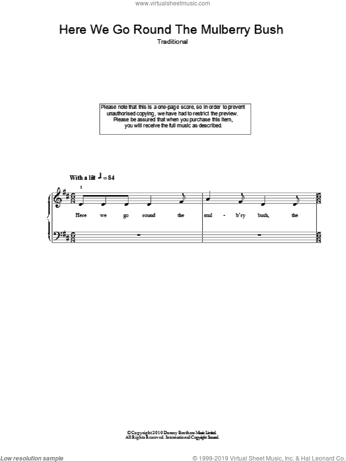 Here We Go Round The Mulberry Bush sheet music for piano solo, easy skill level