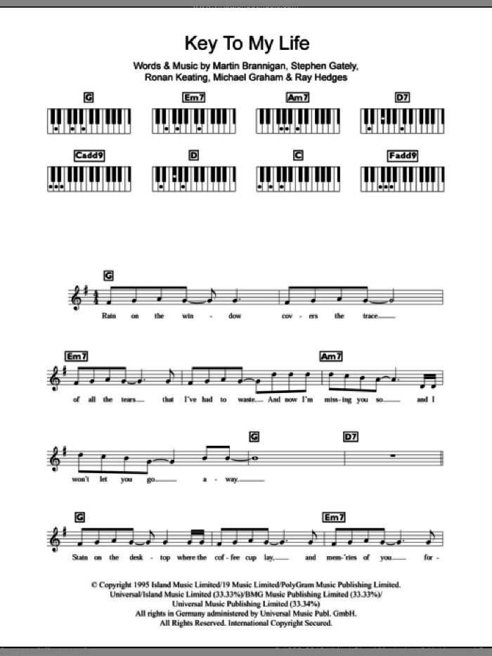 Key To My Life sheet music for piano solo (chords, lyrics, melody) by Boyzone, Martin Brannigan, Michael Graham, Micheal Graham, Ray Hedges, Ronan Keating and Stephen Gately, intermediate piano (chords, lyrics, melody)