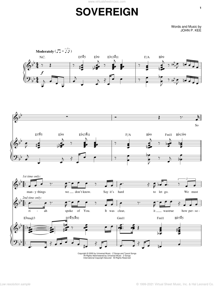 Sovereign sheet music for voice, piano or guitar by John P. Kee, intermediate skill level