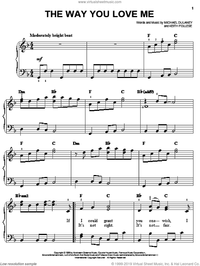 The Way You Love Me sheet music for piano solo by Faith Hill, Keith Follese and Michael Dulaney, easy skill level