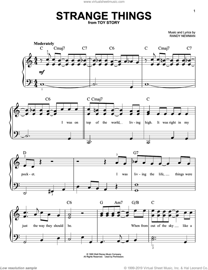 Strange Things (from Toy Story) sheet music for piano solo by Randy Newman and Toy Story (Movie), easy skill level
