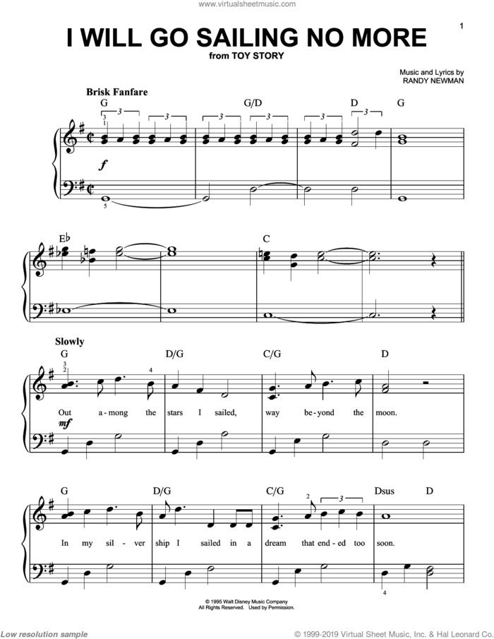 I Will Go Sailing No More (from Toy Story) sheet music for piano solo by Randy Newman and Toy Story (Movie), easy skill level