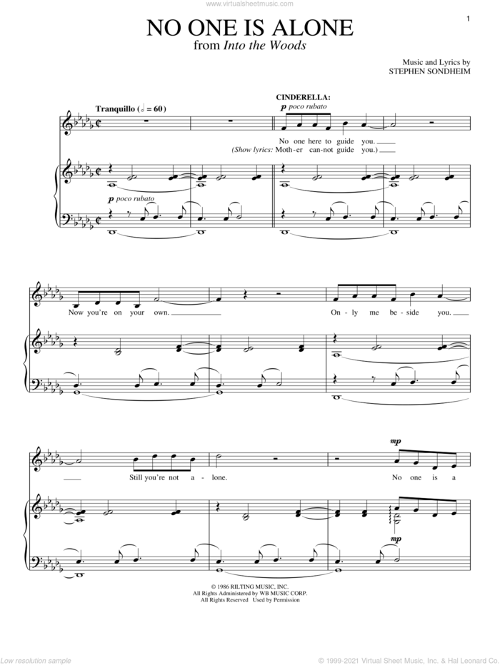 No One Is Alone (from Into The Woods) sheet music for voice and piano by Stephen Sondheim and Into The Woods (Musical), intermediate skill level
