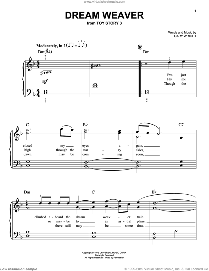 Dream Weaver sheet music for piano solo by Gary Wright and Toy Story 3 (Movie), easy skill level
