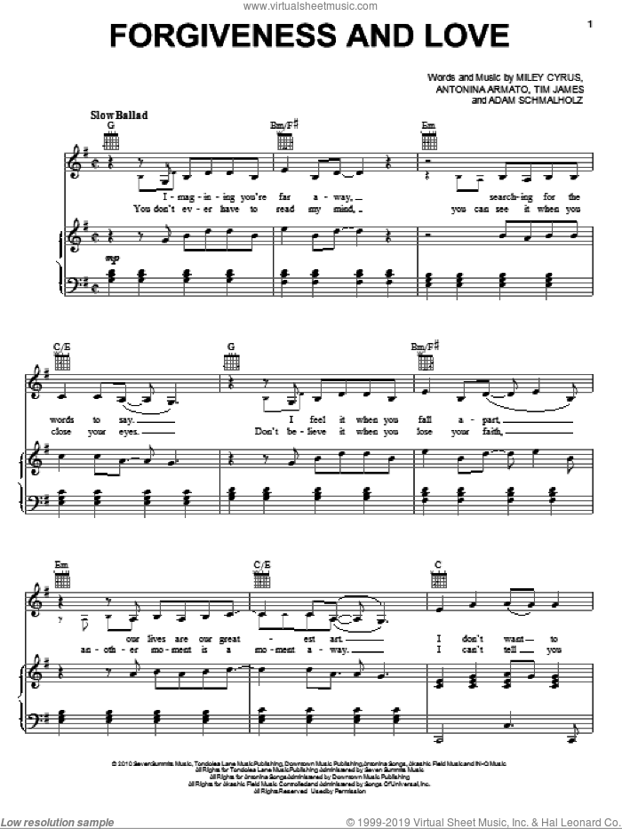 Forgiveness And Love sheet music for voice, piano or guitar by Miley Cyrus, Adam Schmalholz, Antonina Armato and Tim James, intermediate skill level
