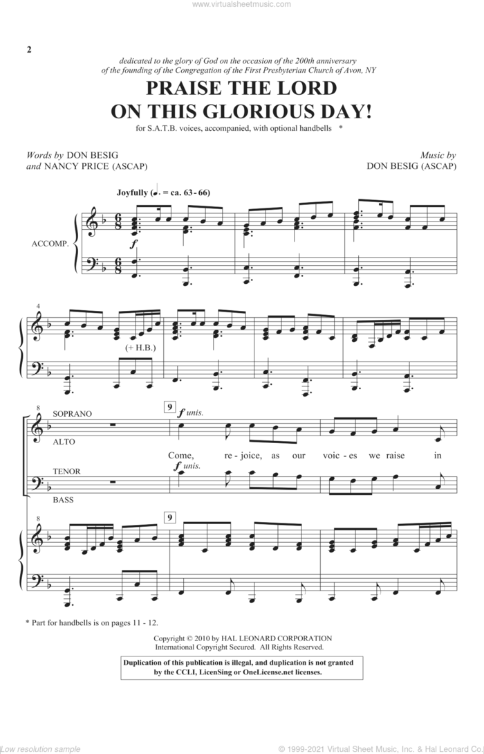 Praise The Lord On This Glorious Day sheet music for choir (SATB: soprano, alto, tenor, bass) by Don Besig and Nancy Price, intermediate skill level
