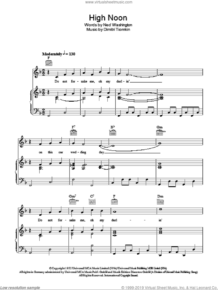 High Noon sheet music for voice, piano or guitar by Frankie Laine, Dimitri Tiomkin and Ned Washington, intermediate skill level