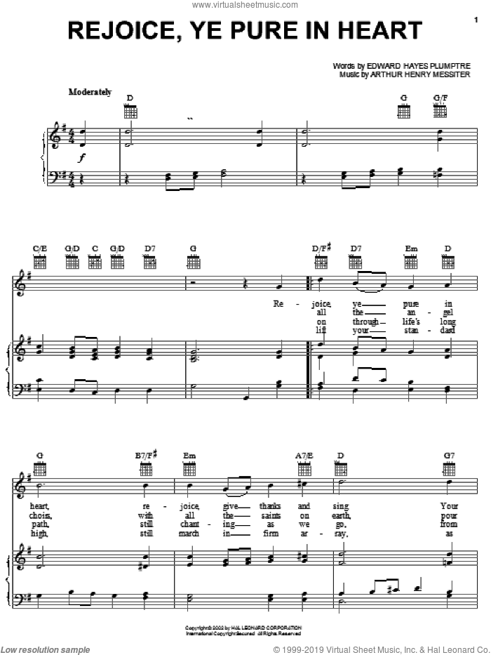 Rejoice, Ye Pure In Heart sheet music for voice, piano or guitar by Arthur Henry Messiter and Edward Hayes Plumptre, intermediate skill level