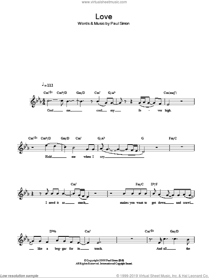Love sheet music for voice and other instruments (fake book) by Paul Simon, intermediate skill level