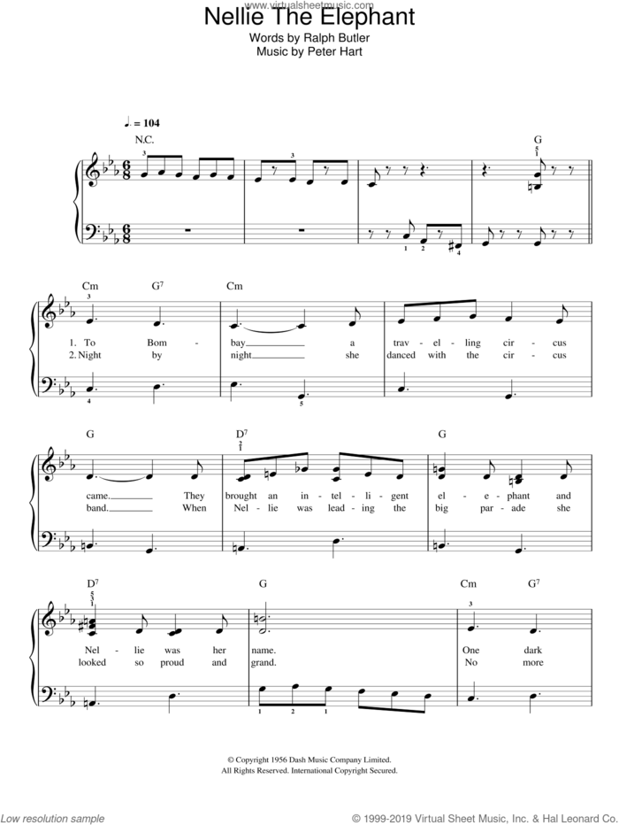 Nellie The Elephant sheet music for piano solo by Ralph Butler and Peter Hart, easy skill level