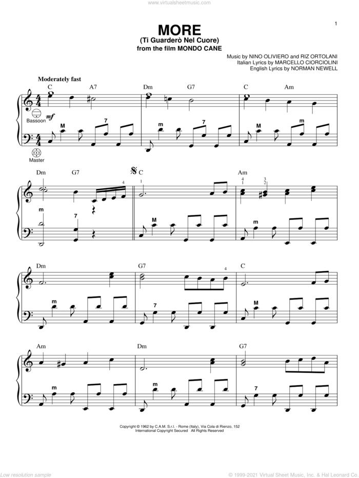 More (Ti Guardero Nel Cuore) sheet music for accordion by Marcello Ciorciolini, Nino Oliviero, Norman Newell and Riz Ortolani, intermediate skill level