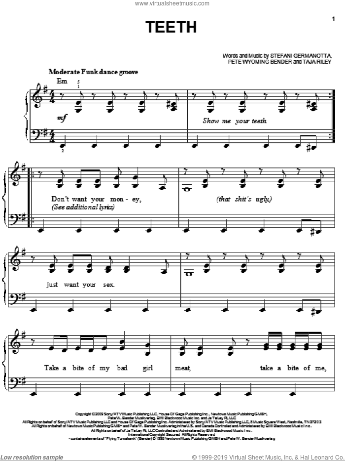 Teeth sheet music for piano solo by Lady GaGa, Pete Wyoming Bender and Taja Riley, easy skill level