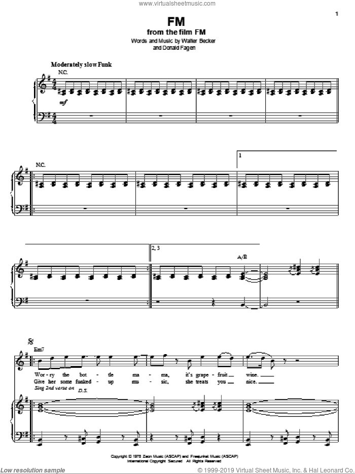 FM sheet music for voice and piano by Steely Dan, Donald Fagen and Walter Becker, intermediate skill level