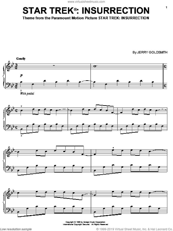 Star Trek Insurrection sheet music for piano solo by Jerry Goldsmith and Star Trek(R), intermediate skill level
