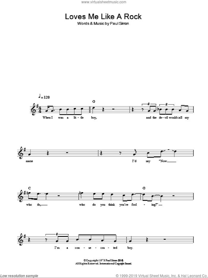 Loves Me Like A Rock sheet music for voice and other instruments (fake book) by Paul Simon, intermediate skill level
