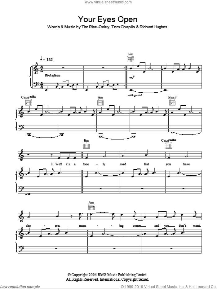 Your Eyes Open sheet music for voice, piano or guitar by Tim Rice-Oxley, Richard Hughes and Tom Chaplin, intermediate skill level