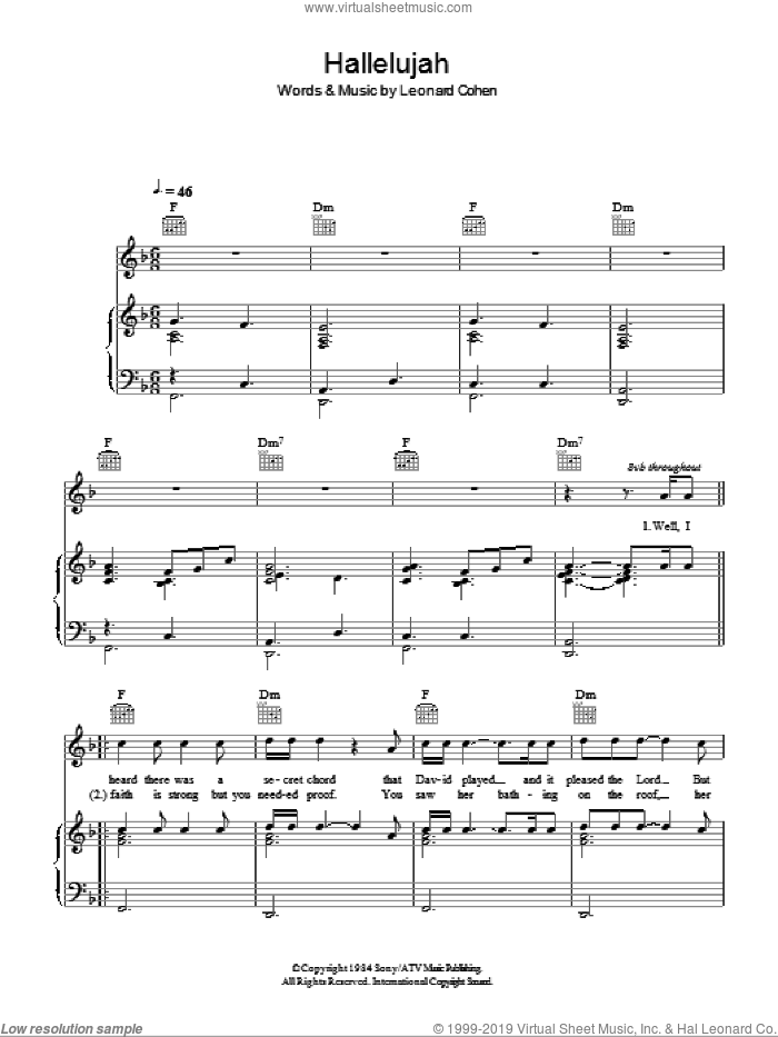 Hallelujah sheet music for voice, piano or guitar by Susan Boyle and Leonard Cohen, intermediate skill level