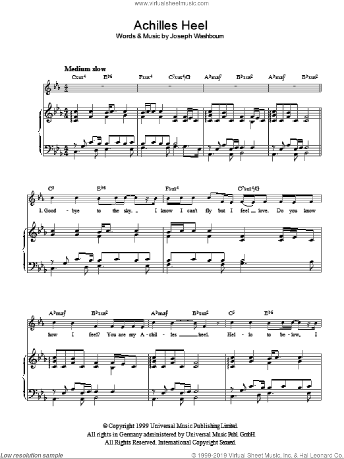 Achilles Heel sheet music for voice, piano or guitar by Toploader and Joseph Washbourne, intermediate skill level
