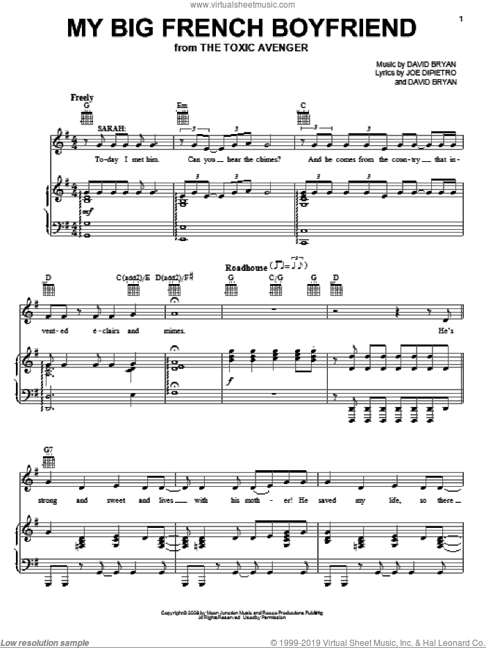 My Big French Boyfriend sheet music for voice, piano or guitar by Joe DiPietro, The Toxic Avenger (Musical) and David Bryan, intermediate skill level
