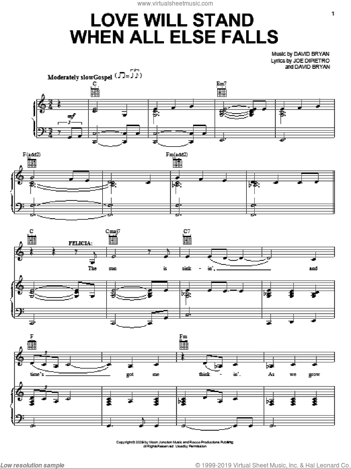 Love Will Stand When All Else Falls sheet music for voice, piano or guitar by Joe DiPietro, Memphis (Musical) and David Bryan, intermediate skill level