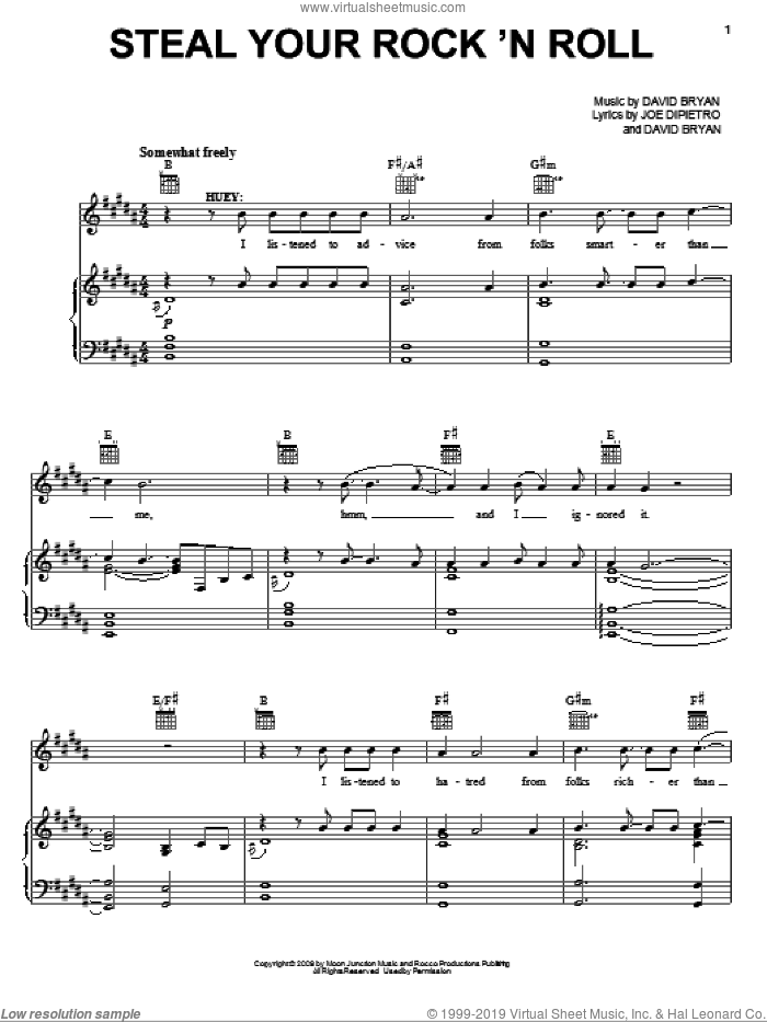 Steal Your Rock 'N Roll sheet music for voice, piano or guitar by Joe DiPietro, Memphis (Musical) and David Bryan, intermediate skill level