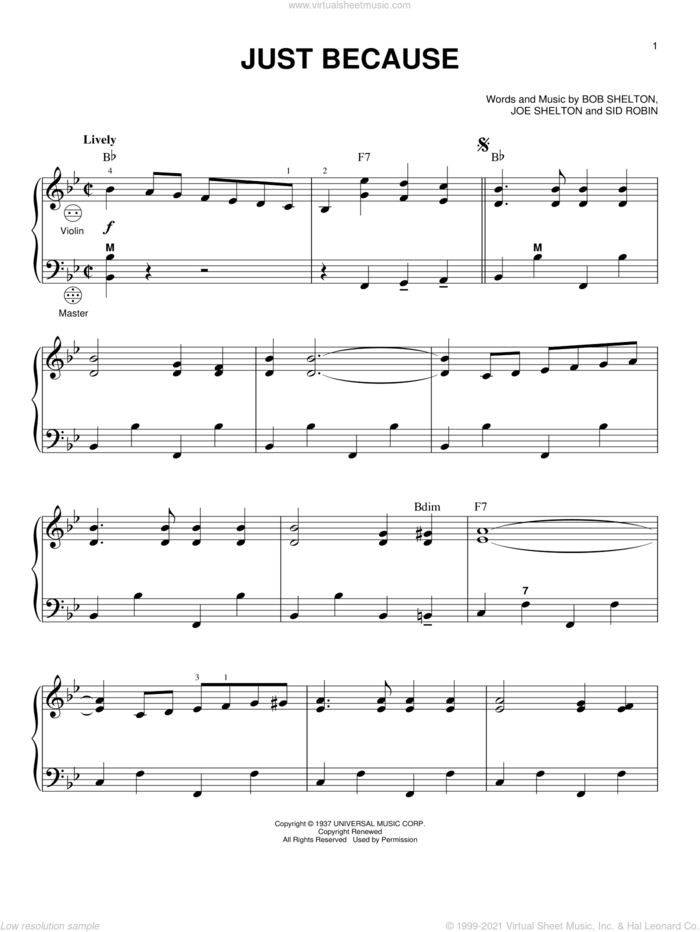 Just Because sheet music for accordion by Frankie Yankovic, Bob Shelton, Joe Shelton and Sid Robin, intermediate skill level