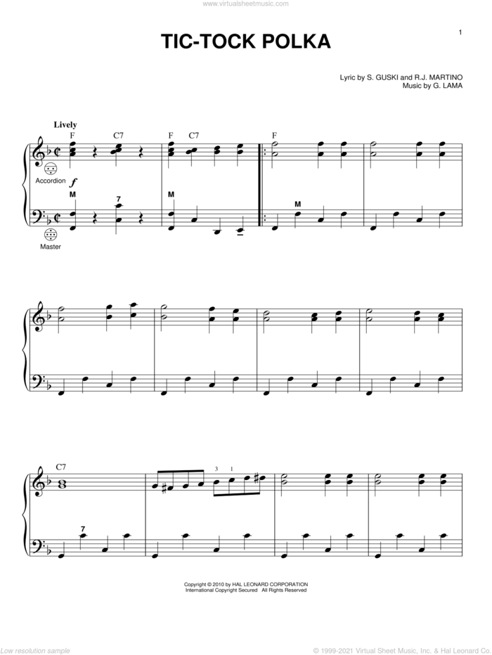 Tic-Tock Polka sheet music for accordion by Frankie Yankovic, G. Lama, R.J. Martino and S. Guski, intermediate skill level