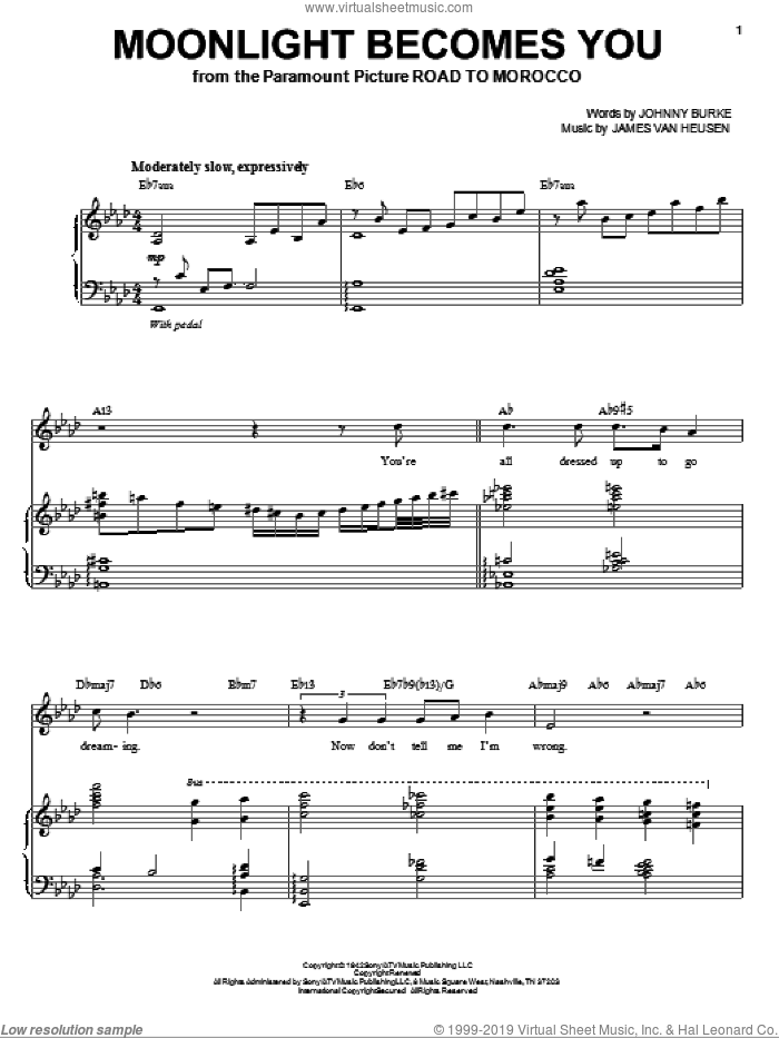 Moonlight Becomes You sheet music for voice and piano by Frank Sinatra, Bing Crosby, Come Fly Away (Musical), Jimmy van Heusen and John Burke, intermediate skill level