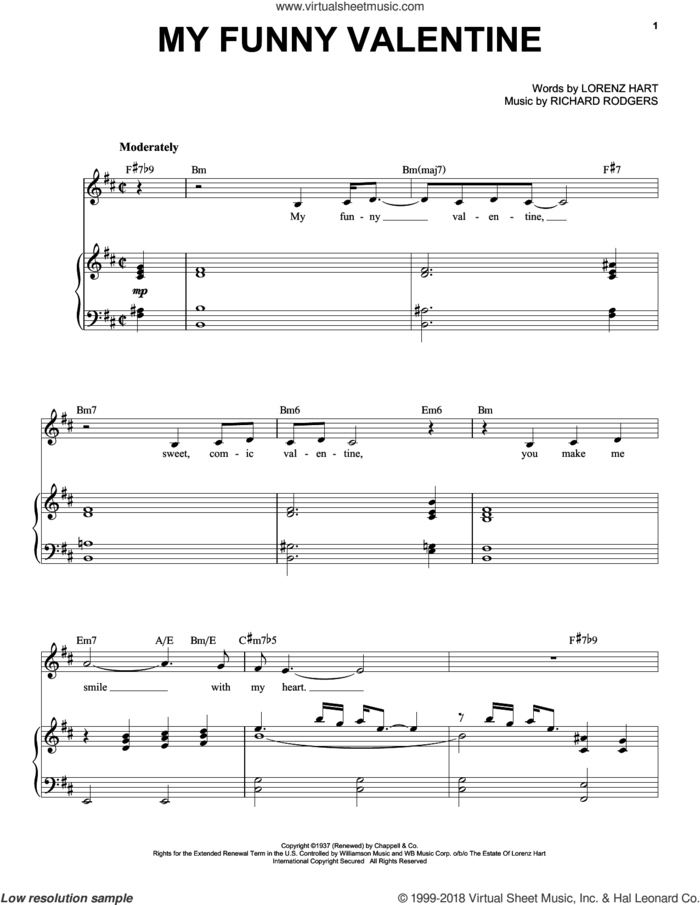 My Funny Valentine sheet music for voice and piano by Frank Sinatra, Babes In Arms (Musical), Come Fly Away (Musical), Rodgers & Hart, Lorenz Hart and Richard Rodgers, intermediate skill level